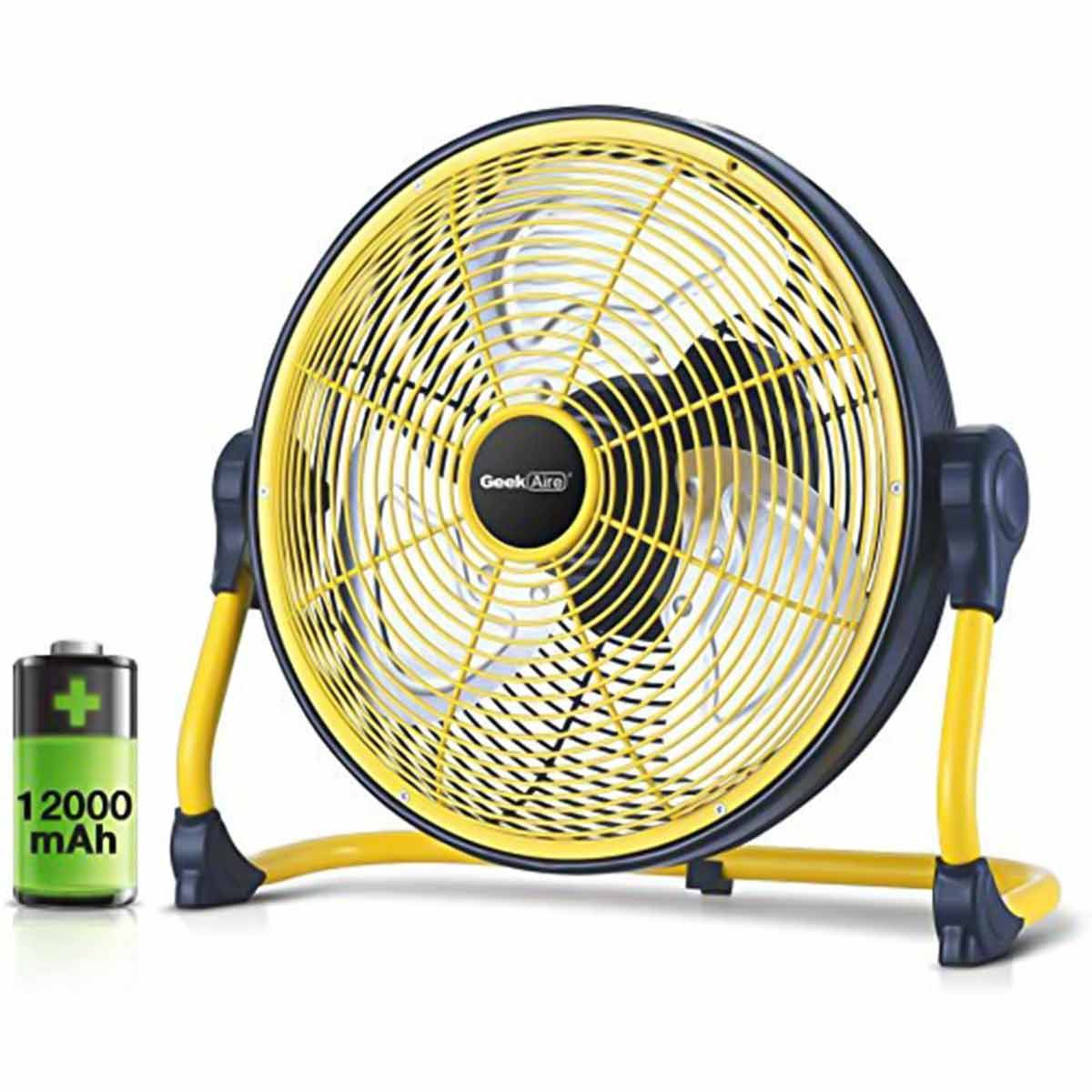 Geek Aire Rechargeable Table Fan - 12 Inch - CF1SE (Yellow Black)