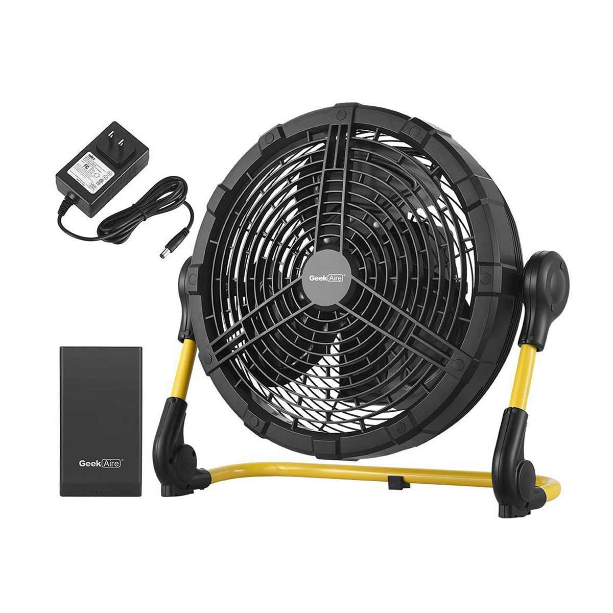 Geek Aire CF100, 12 Inch Rechargeable Outdoor Fan with 15000 mAh Li-ion Battery, upto 3 - 23hrs Run time