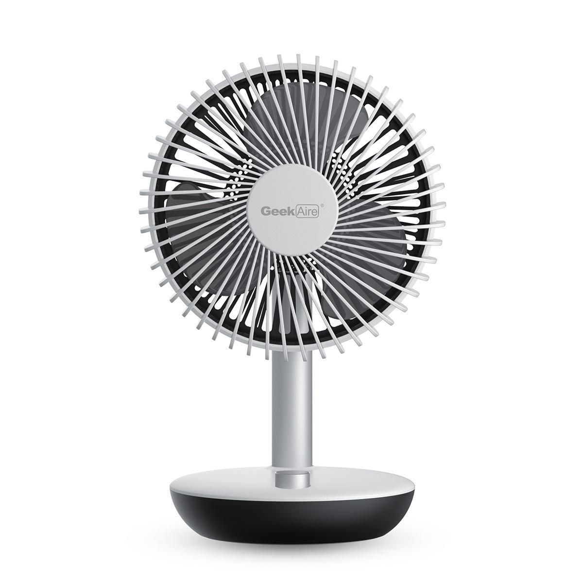 Geek Aire Rechargeable Mini Fan - 6 Inch Oscillating (White)